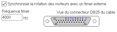Options de communication de Jedicut - Réglage timer externe
