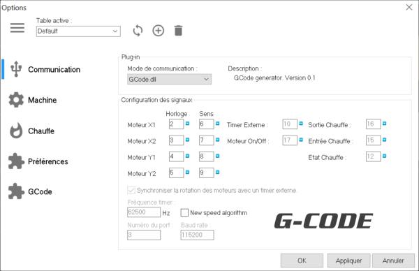 Plugin GCode sélectionné